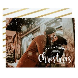 Cartão O X-Mas da família da foto dos feriados do Feliz