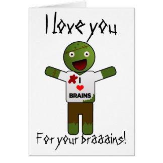 Cartão O zombi ama-o para seus cérebros!