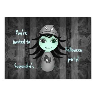 Cartão O zombi bonito o Dia das Bruxas caçoa o partido