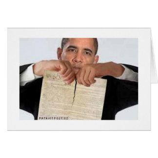 Cartão Obama que rasga acima a constituição