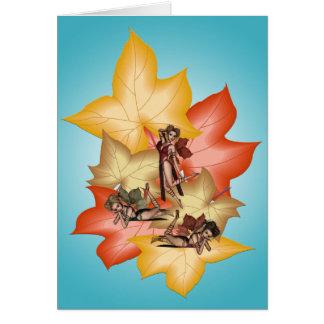Cartão Objectivas triplas de Fae da folha da queda