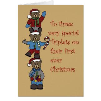 Cartão Objectivas triplas empilhadas para o Natal