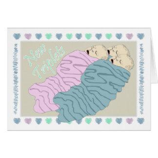 Cartão Objectivas triplas novas do bebê dois meninos e