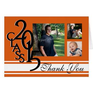 Cartão Obrigado 2015 da graduação da laranja você foto
