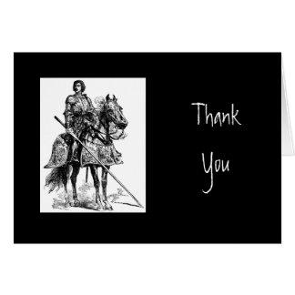 Cartão Obrigado, a escritura & o cavaleiro na armadura de