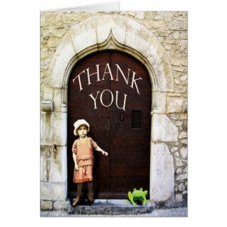 Cartão Obrigado, a menina e a rã verde