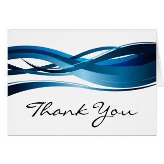 Cartão Obrigado abstrato moderno da onda azul você
