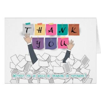 Cartão Obrigado administrativo do dia dos profissionais