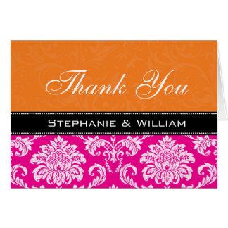 Cartão Obrigado alaranjado cor-de-rosa do casamento tema