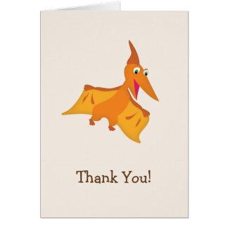 Cartão Obrigado alaranjado do dinossauro do Pterodactyl