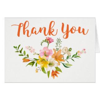Cartão Obrigado alaranjado floral você lírio floresce o
