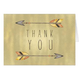 Cartão Obrigado alaranjado indiano do ouro da seta tribal