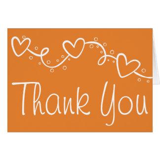 Cartão Obrigado alaranjado você ama corações - queda da