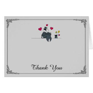 Cartão Obrigado alegre do casamento dos desenhos animados
