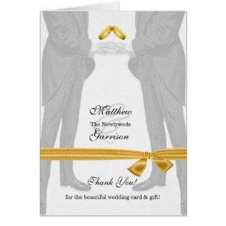 Cartão Obrigado alegre do casamento você vintage de dois