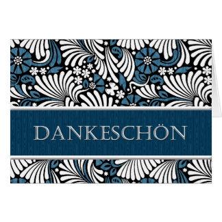 Cartão Obrigado alemão azul e branco você - formal