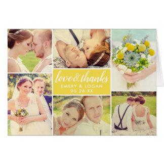 Cartão Obrigado amarelo da colagem   da foto do casamento