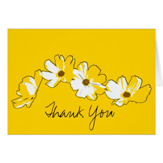 Cartão Obrigado amarelo da corrente de margarida você
