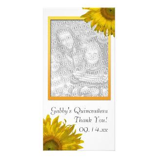 Cartão Obrigado amarelo de Quinceanera do girassol você