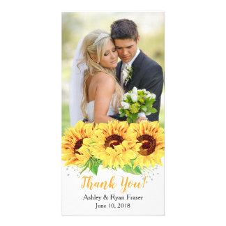 Cartão Obrigado amarelo do casamento da aguarela do
