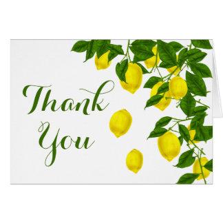 Cartão Obrigado amarelo do limão você esverdeia o