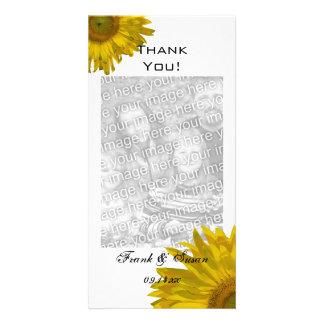 Cartão Obrigado amarelo dos girassóis você