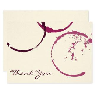 Cartão Obrigado anéis lisos da mancha do vinho dos