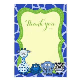 Cartão Obrigado animal azul do menino do safari de selva