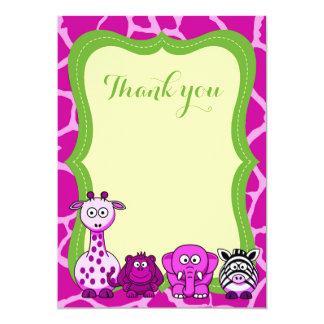 Cartão Obrigado animal cor-de-rosa da menina do safari de
