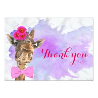 Cartão Obrigado animal da aguarela da selva bonito do