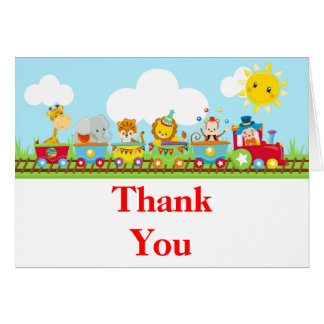 Cartão Obrigado animal do aniversário de criança do trem