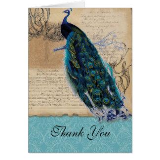 Cartão Obrigado antigo do casamento vintage do pavão você