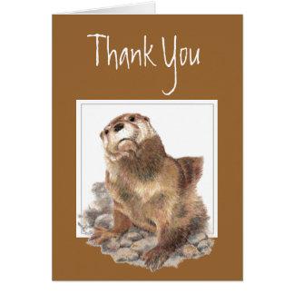 Cartão Obrigado, apreciação, lontra de rio bonito, animal