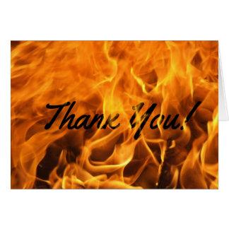 Cartão Obrigado ardente do fogo você