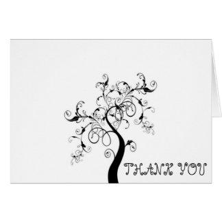 Cartão Obrigado árvore de vida preto e branco