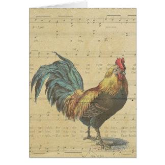 Cartão Obrigado as notas da partitura do galo do vintage