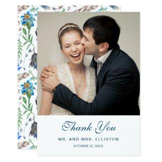 Cartão Obrigado asteca azul da aguarela | de Boho você