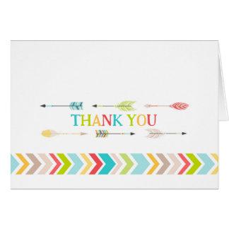 Cartão Obrigado asteca tribal do chá de fraldas você