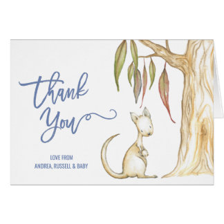 Cartão Obrigado australiano do chá de fraldas do canguru