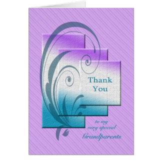Cartão Obrigado avós, com retângulos elegantes