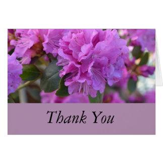 Cartão Obrigado azáleas roxas