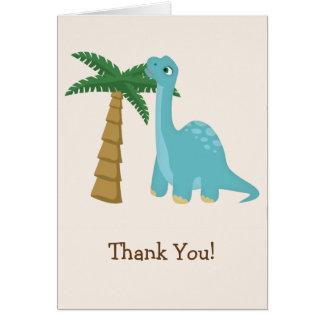 Cartão Obrigado azul bonito do dinossauro você
