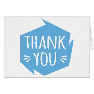 Cartão Obrigado azul & branco abstrato você - casamento,