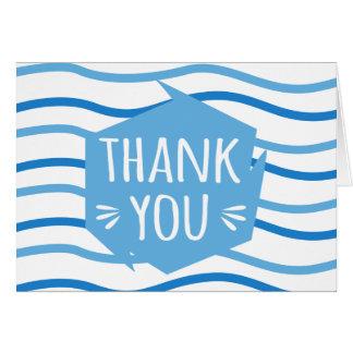 Cartão Obrigado azul & branco do abstrato das listras