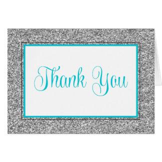 Cartão Obrigado azul da cerceta Glam da prata do brilho