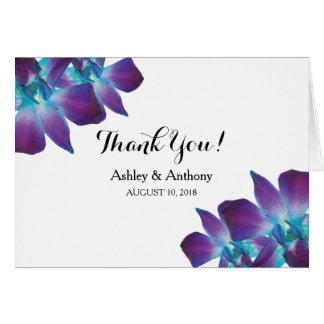 Cartão Obrigado azul da foto do casamento da orquídea do