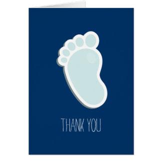 Cartão Obrigado azul da pegada você