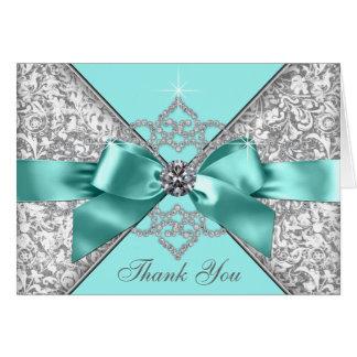 Cartão Obrigado azul do arco do diamante da cerceta você