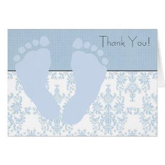 Cartão Obrigado azul do bebê dos pés do bebê azul do
