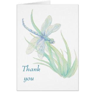 Cartão Obrigado azul do casamento da libélula da aguarela